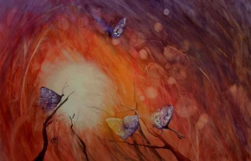 Aquarelle Papillons enflammés 03.2016 Canson Montval 36x56 cm ( hors encadremt)